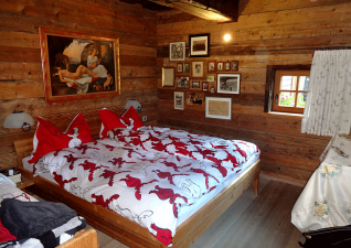 Typical wooden bedroom